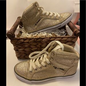 G by guess gold glitter opall sneakers size 6